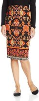 My Michelle Juniors Printed Pencil Skirt with Side Slits and Border Print Hemline