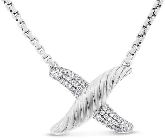 David Yurman 925 Silver 0.50 Ct. Authentic Diamond X Pendant Necklace