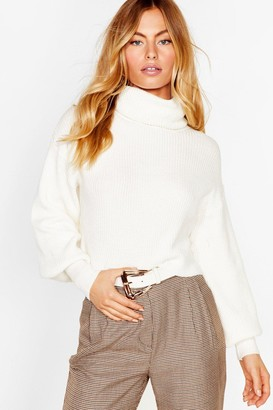 Nasty Gal Womens Puff Sleeve Turtleneck Sweater with Fitted Cuffs - White