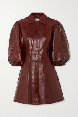 Ganni Leather Mini Dress - Brown