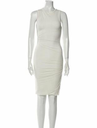 Herve Leger Scoop Neck Knee-Length Dress White