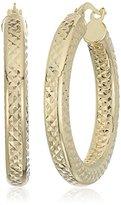 14k Gold Italian Textured Hoop Earrings