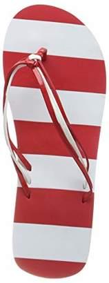 Kurt Geiger BECO Beermann GmbH & Co. Women's V-Strap-Slipper, Gestreift Flip Flops, Red (Rot/Weiß 51)