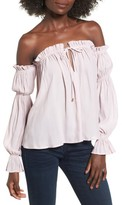 Socialite Women's Pleated Off The Shoulder Blouse