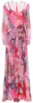 Valentino Floral silk-chiffon gown
