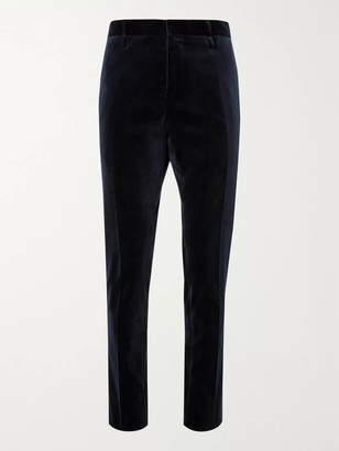 ALDOMARIACAMILLO - Slim-Fit Cotton-Velvet Suit Trousers - Men - Blue