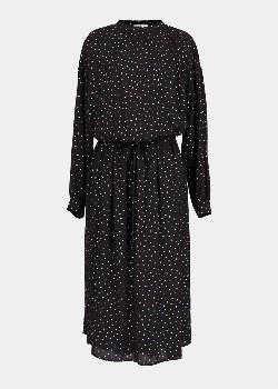 Essentiel Black Holographic Polka Dots Midi Dress - 34