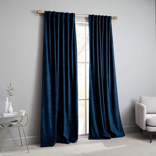 west elm Worn Velvet Curtain - Regal Blue