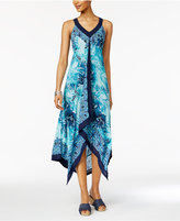 Style&Co. Style & Co Printed Handkerchief-Hem Maxi Dress, Only at Macy's