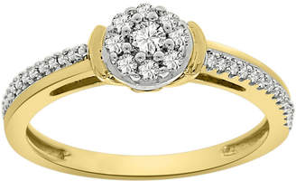 FINE JEWELRY Womens 1/4 CT. T.W. Genuine White Diamond 10K Gold Flower Cluster Cocktail Ring