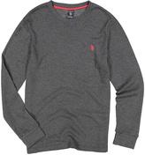 U.S. Polo Assn. Dark Gray Heather Waffle-Knit Long-Sleeve Tee