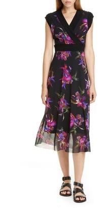 Fuzzi Floral Print Midi Dress