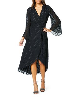 Ramy Brook Julie Long-Sleeve Metallic Wrap Dress