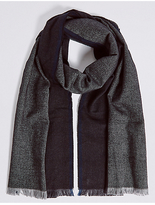 M&S Collection Pure Cotton Wider Width Herringbone Scarf