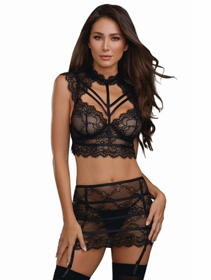 Dreamgirl Women's Collared Stretch Lace Bustier and Garter Skirt Set
