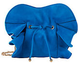 Nina Ricci Lily Ruched Ruffle Blue Suede Shoulder Bag