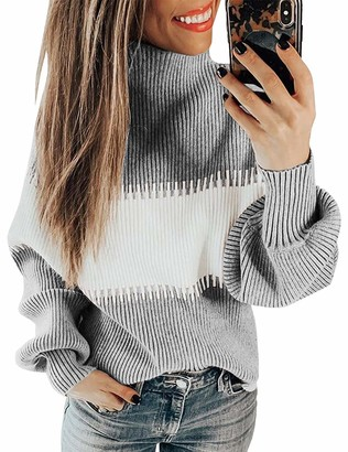 Yidarton Womens Turtleneck Jumpers Casual Color Block Long Sleeve Chunky Knitted Pullover Sweaters Tops (Gray Medium)