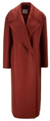 HUGO BOSS Relaxed Fit Coat In Italian Virgin Wool With Cashmere - Brown