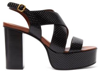 See by Chloe Cross-strap Snake-effect Leather Platform Sandals - Womens - Black