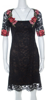 Marchesa Black Lace Floral Applique Backless Short Dress S
