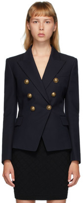 Balmain Navy Wool Serge 6-Button Blazer