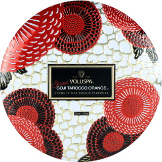Voluspa Spiced Goji Tarocco Orange 3-Wick Tin Candle
