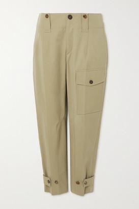Chloe - Cotton-blend Canvas Straight-leg Cargo Pants - Green
