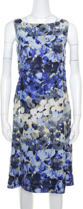 Moschino Blue Floral Printed Linen Silk Bateau Neck Shift Dress S