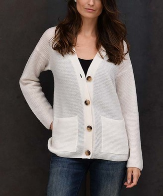 Colour Works by In Cashmere Women's Cardigans Whisper - Whisper White Ribbed Pocket Cashmere Button-Up Cardigan - Women