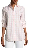 Lafayette 148 New York Brody Coastal Check Button-Down Blouse, Multi