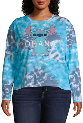 Freeze Womens Crew Neck Long Sleeve Lilo & Stitch Graphic T-Shirt - Juniors Plus