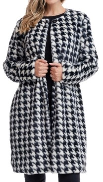 Fever Houndstooth Faux Fur Coat