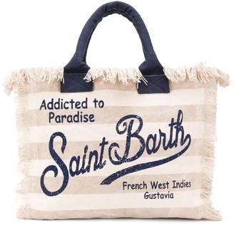MC2 Saint Barth Beige Striped Beach Bag