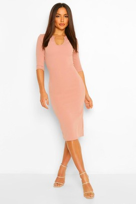boohoo Notch Neck Detail Bodycon Midi Dress