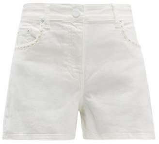 Solid & Striped Daisy-trim Denim Shorts - Womens - White