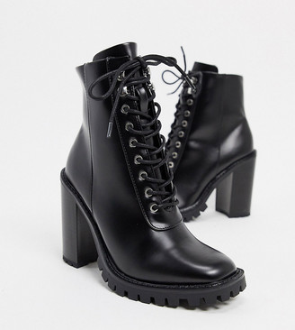 ASOS DESIGN Wide Fit Bobbie lace up heeled boots in black