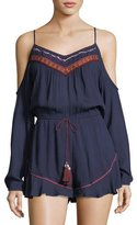 Band of Gypsies Tasseled Cold-Shoulder Playsuit