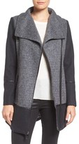 GUESS Women's Mixed Media Wool Blend Coat