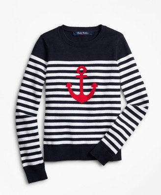 Brooks Brothers Girls Cotton Anchor Intarsia Sweater