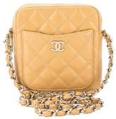 Chanel Beige Quilted Caviar Leather Shoulder Bag.