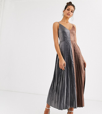 Little Mistress Tall pleated contrast midaxi dress in metallic