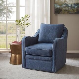 Madison Home USA Betty Slub Weave Wide Seat Swivel Arm Chair