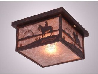 """Steel Partners Cowboy Sunset 1 - Light 14"""" Shaded Square Flush Mount Finish: Rust, Shade Color: Amber Mica"""