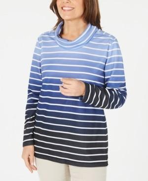 Karen Scott Petite Ombre Striped Top, Created for Macy's