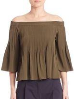 Tibi Off-The-Shoulder Pintucked Silk Top