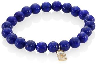 Sydney Evan Blue Lapis, Diamond & 14K Gold Rondelle Lock Bracelet