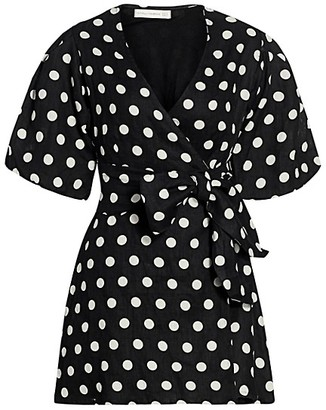 Faithfull The Brand Le Desert Godiva Polka Dot Wrap Dress