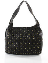 Betsey Johnson Dark Brown Leather Gold Tone Studding Medium Tote Shopper Bag
