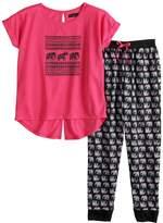 Cuddl Duds Girls 6-16 Splitback Top & Patterned Bottoms Pajama Set