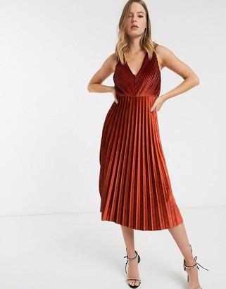 Asos Design DESIGN cami strappy back pleated skater midi dress in velvet-Orange